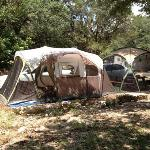 campsite: we were able to move the table and fire ring to get our 3 room tent and screen tent on