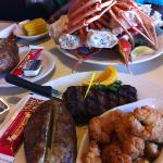  crab legs, steak, shrimp, baked potato...it was GREAT!!