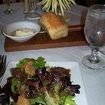 salad and freshly baked bread