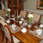 Beautifully set dining room table for our gourmet breakfast!