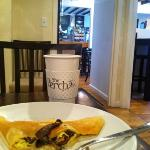 egg, cheese, mushroom crepe at The Perch