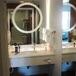  Vanity with magnifying mirror