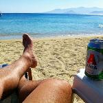 That's paradise! relax with a beer in Agios Prokopios Beach