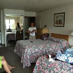 Inside view of room 101 with 2 double beds