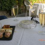 Aperitif on the terrace of Auberge de l'Abbaye