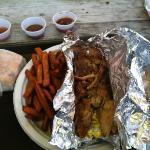 pulled chix with sweet potato fries