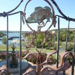 Balcony view of Marina/Lake, beautiful hand-wrought iron is plentiful at Big Cedar.