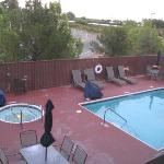 View of pool and hot tub area