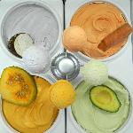Odd and delicious ice cream such as pumpkin, avocado, taro and carrots. Also garlic, corn & othe