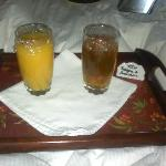 Our Orange & Apple Juice waiting outside our room with our names on it!