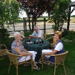 Enjoying a drink in the enclosed garden