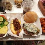 M Burger, Hot Diggity Dog, Italian Sausage Sandwich, Sweet Potato Tots