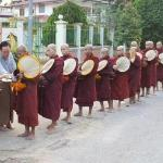 Monks are fed early in the morning by hotel owner
