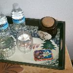 Water and goodies waiting in our room!!