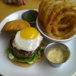  barnyard burger and onion rings