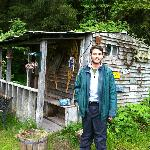 Sourdough cabin exterior (I'm 6' tall or 182 cm for reference)