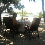 our breakfast table - just outside the bungalow