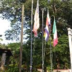  flags at hotel entrance