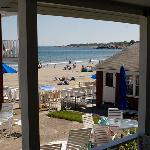  View of the patio and beach from our room&#39;s back door