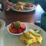  veg omelet and big breakfast burrito. great fresh fruit too