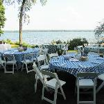 Tables set for a New England Lobster Bake