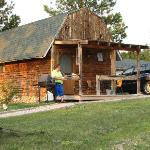 The cabins are rustic-looking, but with all modern amenities.