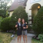 Triathlon finishers at the front door of Three Tree Inn