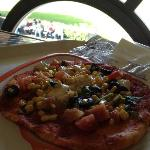  Vegetarian pizza with corn, pepper, olives, tomatoes, cheese