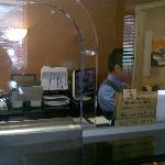 Front desk with bullet proof glass