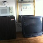 tv fridge and microwave in #102