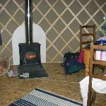 woodburning stove adn table/chair