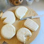 Some of the cheeses at breakfast