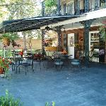 The courtyard- the front of the inn and the outdoor seating area of the Courtyard Cafe