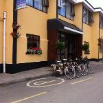 outside the hotel with bikes for hire