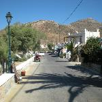 The road between Gialos beach and the hotel