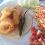  Shrimp Taco with carrot salad on a side and mexican salsa