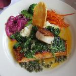 Blackened Salmon and Scallop Entree