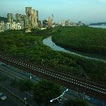 View upriver towards Taipei (out of sight) and nearest MRT station.