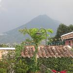 View of volcano from the roof terrace