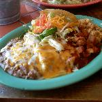 Combination plate: Red chile con carne, relleno, chicken taco, green enchilada.
