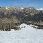 Ski resort and Dolomites in the background