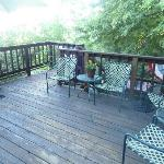  Private back deck upstairs at end of hallway. Shady. Great place to read.