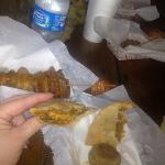 gator kabob and crawfish meat pie