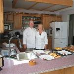 Chef and assistant at breakfast Gordon and Cynthia