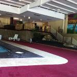 pool area with wall mural