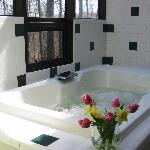 Each Love Bug cabin provides a large jacuzzi tub in an atrium-like bathroom overlooking the wood