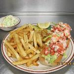 8inch Lobst-ah Roll on Damon's Roll with Handcut French fries and home made cole slaw