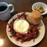Corn Beef Hash, Biscuit and Coffee