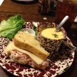 Turkey Ham Pineapple on Jalepeno Bread with Beer Cheese Soup
