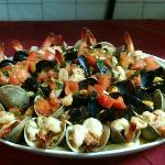 CLAMS, MUSSELS & SHRIMP IN FRESH TOMATO & BASIL SAUCE